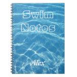Natación acuática azul fresca clara del agua de la libros de apuntes