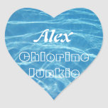 Natación acuática azul fresca clara del agua de la colcomanias corazon