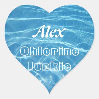 Natación acuática azul fresca clara del agua de la colcomanias corazon personalizadas