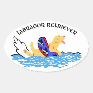 Natación amarilla de Labrador Pegatina Ovalada