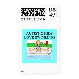 natación autística del amor de los niños del timbres postales