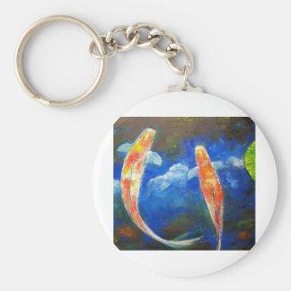 Natación de 2 pescados de Koi Llavero Redondo Tipo Pin