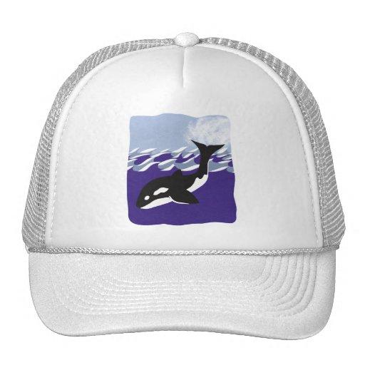 Natación de la ballena en el océano gorras de camionero