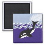 Natación de la ballena en el océano imanes para frigoríficos