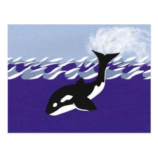 Natación de la ballena en el océano tarjeta postal
