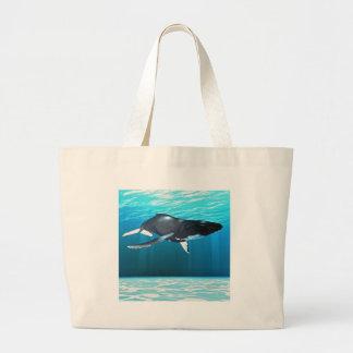 Natación de la ballena jorobada bolsa tela grande