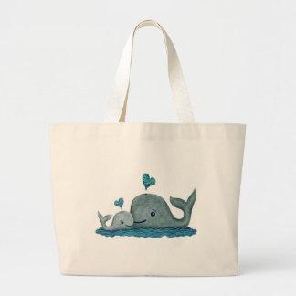 Natación de la mamá y del bebé de la ballena en el bolsa tela grande