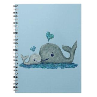 Natación de la mamá y del bebé de la ballena en el cuadernos