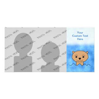 Natación de la nutria tarjetas personales con fotos