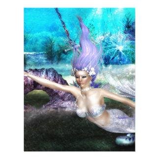 Natación de la sirena plantilla de membrete