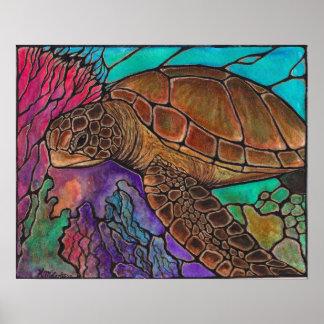 natación de la tortuga de mar póster