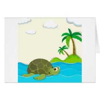 Natación de la tortuga en el océano tarjeta de felicitación