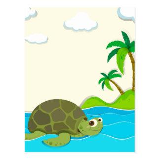 Natación de la tortuga en el océano tarjetas postales
