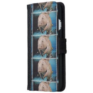 Natación de la vaca de mar funda cartera para iPhone 6