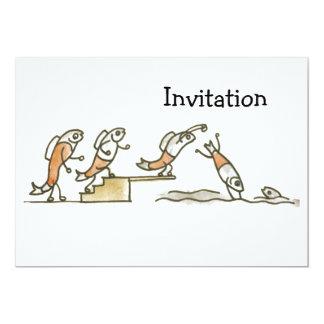"""Natación de los pescados invitación 5"""" x 7"""""""