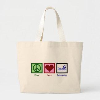 Natación del amor de la paz bolsa tela grande