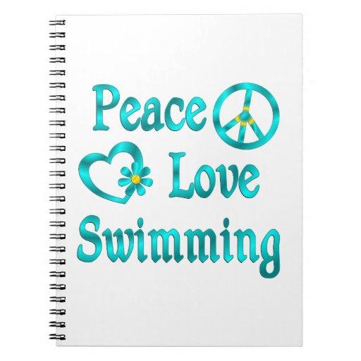 Natación del amor de la paz libros de apuntes con espiral