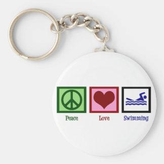 Natación del amor de la paz llavero redondo tipo pin
