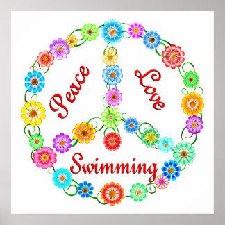 Natación del amor de la paz poster