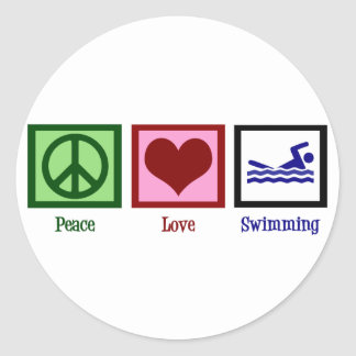 Natación del amor de la paz pegatina redonda