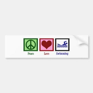 Natación del amor de la paz pegatina para auto