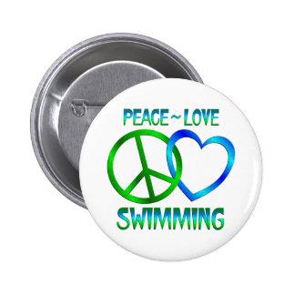 NATACIÓN del amor de la paz Pin Redondo 5 Cm