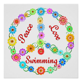 Natación del amor de la paz póster