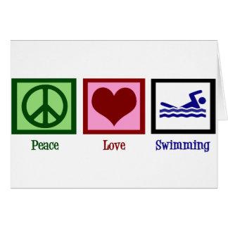 Natación del amor de la paz tarjeta de felicitación
