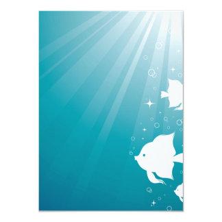 """Natación del Angelfish en rayo de sol Invitación 4.5"""" X 6.25"""""""