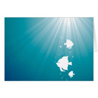 Natación del Angelfish en rayo de sol Tarjeta De Felicitación