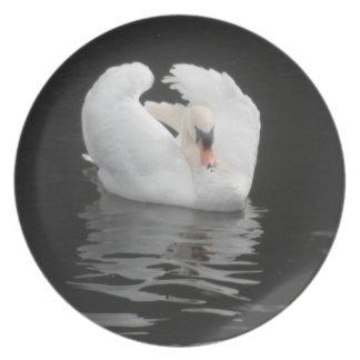 Natación del cisne de la placa plato de cena