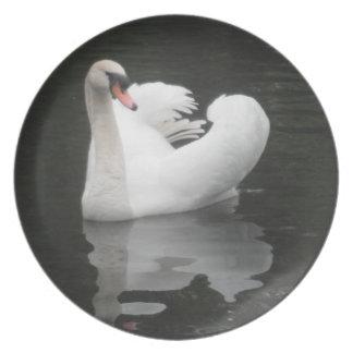 Natación del cisne de la placa platos para fiestas