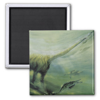 Natación del dinosaurio del Brachiosaurus del Imán Cuadrado