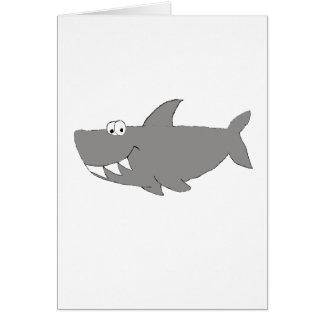 Natación del tiburón del dibujo animado tarjeta de felicitación