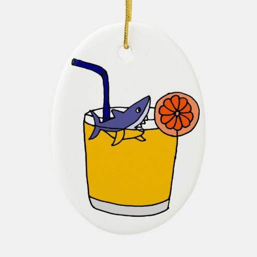 Natación divertida del tiburón en zumo de naranja ornamentos de reyes