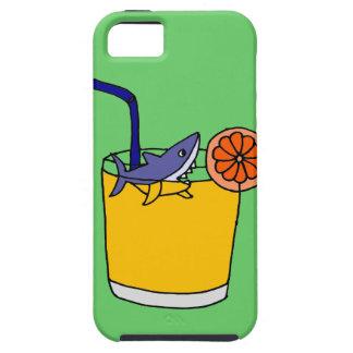 Natación divertida del tiburón en zumo de naranja iPhone 5 cárcasas