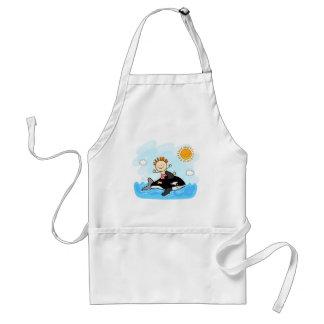 natación feliz del niño pequeño en el dibujo anima delantales