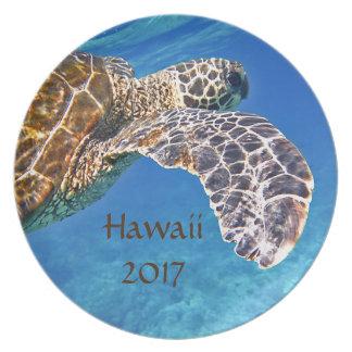 Natación hawaiana de la tortuga de mar platos