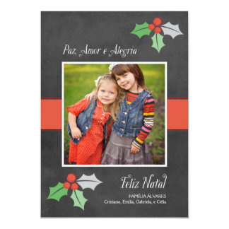 Natal Cartão Fotográfico | Paz Amor e Alegria Comunicados Personalizados