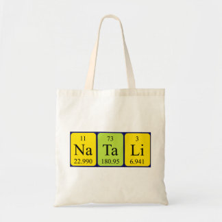 Natali periodic table name tote bag