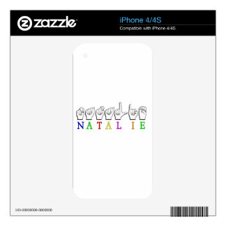 NATALIE  ASL FINGERSPELLED NAME SIGN DECAL FOR THE iPhone 4S