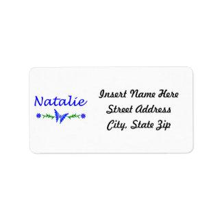 Natalie (Blue Butterfly) Label