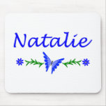 Natalie (Blue Butterfly) Mouse Pad