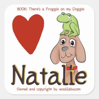 Natalie Froggie en los pegatinas del perrito Calcomanías Cuadradass Personalizadas