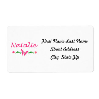 Natalie (Pink Butterfly) Label