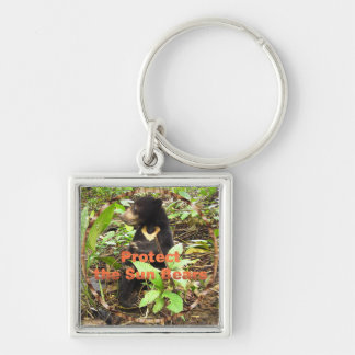 NATALIE PROTECT THE SUN BEARS KEYRING Silver-Colored SQUARE KEYCHAIN
