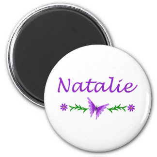 Natalie (Purple Butterfly) 2 Inch Round Magnet
