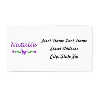 Natalie (Purple Butterfly) Label