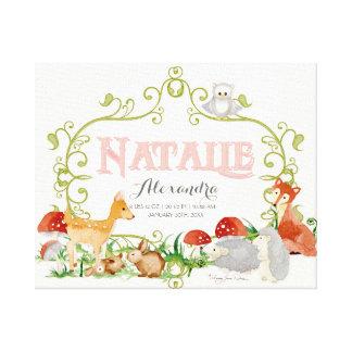 Natalie Top 100 Baby Names Girls Newborn Nursery Stretched Canvas Print