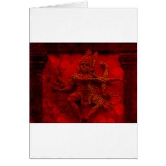 Nataraj Dancing Shiva Wall Relief Statue Red Grung Card